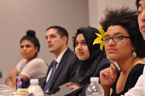 Panelists at the diversity forum. (Photo by Philip Shilling)